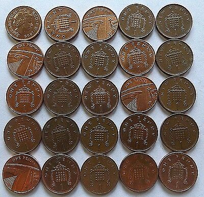 Great Britain One Pence-25 Coins-1971-2012! Xf-Unc!