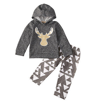 2PCS Newborn Infant Toddler Baby Boy Deer Hoodie Pants Outfits Clothes Set 0-3Y