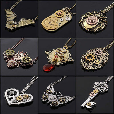 Charm Punk Steampunk Machinery Gear Rivet Pendant Necklace Chain Vintage Jewelry