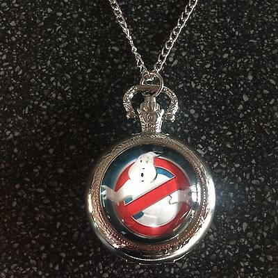 Ghostbusters Quartz Watch Pendant Necklace or Fob Watch Silver Chain & Tones