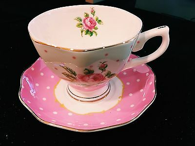 English Afternoon Tea Set/Tea Cup And Saucer/ Pink Flower Spot Pattern