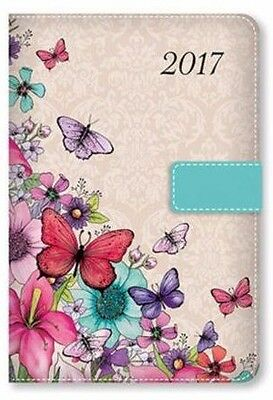 2017 Diary A5 Pink Butterfly Fabric Efect Day A Page Monthly Indexed Appointment