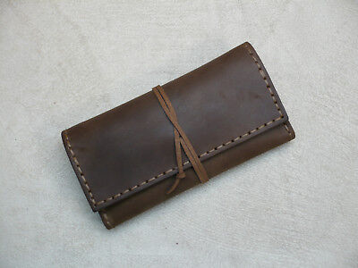 Vintage Brown Handmade Leather Tobacco Pouch - 100% Handcrafted - Waxed Cowhide