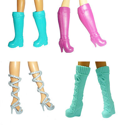 Handmade High Quality 4 Pairs Different Barbie Dolls Shoes Boots for Girls Gift