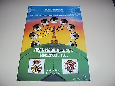 Liverpool 1981 European Cup Programme Paris Hand Signed Phil Thompson Legend Coa