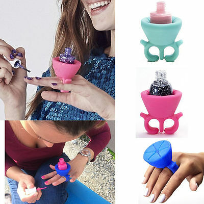 Flexible Durable Wearable Nail Polish Bottle Holder Rack Ring Fit All Fingers