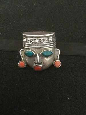 Vintage Silver Mexican Aztec Like Face Brooch Inset With Green & Orange Stones