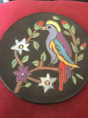 Vintage Colourful Parrot Plate With Floral & Foliate Decoration On Black Ground