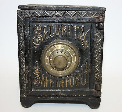 "Antique Cast Iron ""security Safe Deposit"" Combination Lock Toy Bank Patd 1888"
