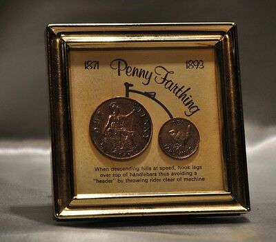 Framed Coins Penny Farthing 1936 & 1951 (0994)
