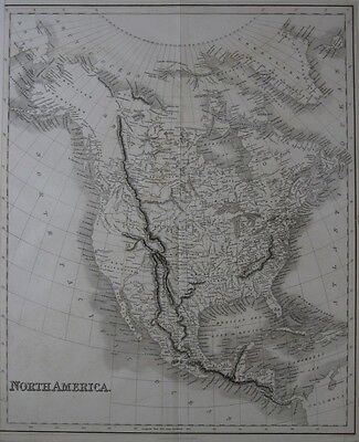 Original 1832 Map NORTH AMERICA Indian Tribes United States & Territories Canada