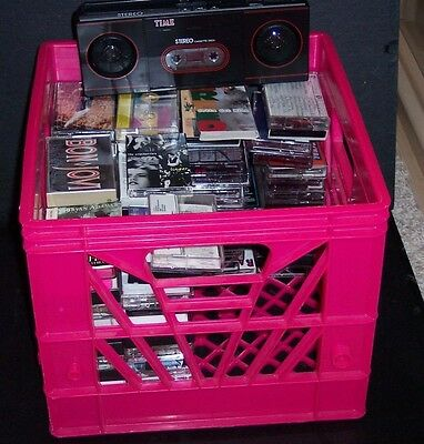 APPROX 125 CASSETTE TAPES in CRATE  '80S MIXTURE & PLAYER - GOOD CONDITION