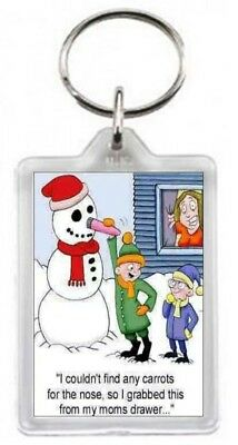 Keyring Snow Snowman Red Carrot Nose Fun Pleasure Toy Vibrate Quote Gift