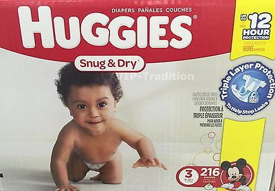 Huggies Snug and Dry Diapers, Step 3 Economy Plus, 216-Count
