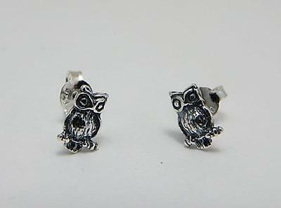 Owl Stud Earrings 925 jewellery gift tiny sterling silver wise owl studs