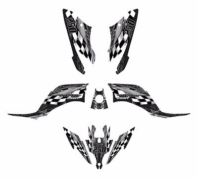 Yamaha Raptor 250 R graphics sticker deco kit #3500 Gray Metal