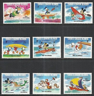 Turks & Caicos Islands: Scott 619 - 627 Mnh Set - 1984 L.a. Olympics & Disney