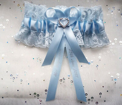 Personalised Pale Something Blue Lace Heart Wedding Bridal Brides Garter Gift