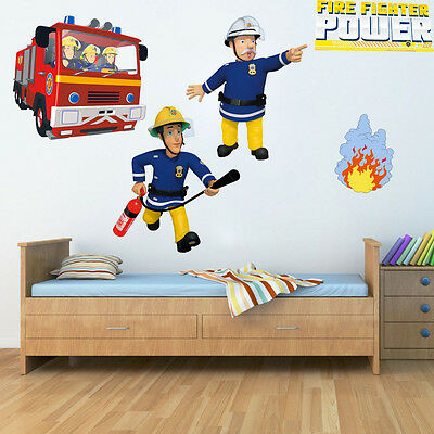 Fireman Sam Wall Stickers Decal Nursery Vinyl Kids Room Wall Art Home Decor VHQ