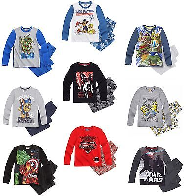 Boys Official CHARACTER PYJAMA SET Long Sleeved PJs Top & Bottoms 2-12 Years