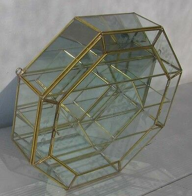 CURIO CABINET Glass Brass OCTAGON SHAPE DISPLAY CASE for heirlooms +