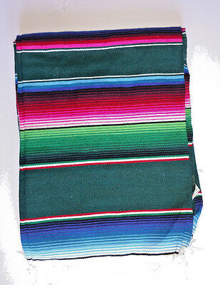 Mexican Serape Blanket Falsa Green multicolor throw Southwest Aztec XLARGE