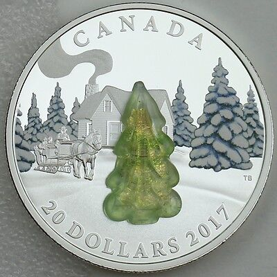 SNOW COVERED TREES Murano Glass Silver Coin 20$ Canada 2017
