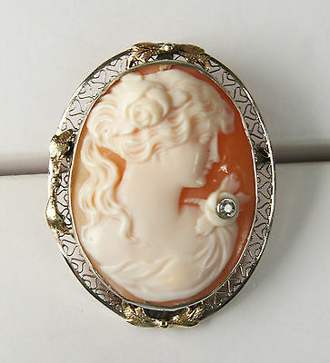 14 Kt Yellow Gold Estate Cameo with Diamond. Fair-Good condition. Pin/ Necklace
