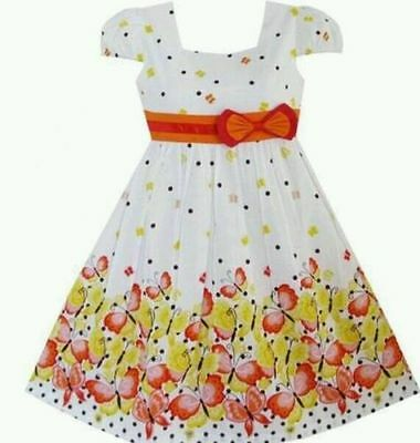 Girls Party dress size 2,3,4,5,6,7,8 yrs Butterfly design Bow holidays dress