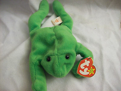 Rare Vintage Ty Beanie Baby - 1993 LEGS the Frog Style 4020 PVC Pellets