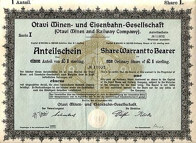 Superb German Colonial So. West Africa Mining/rr Bond! Read Unique Hist! Cv $200
