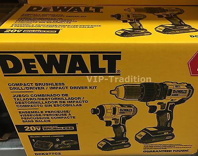 DEWALT DCK277C2 20V Max Compact Brushless Drill/Driver and Impact Combo Kit $5