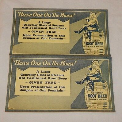 Vintage set of Stearns Root Beer Free Glass of Root Beer advertising coupon