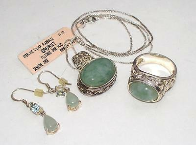 Vintage Sterling Silver and Jade Jewelry Lot Ring Pendant Necklace Earrings