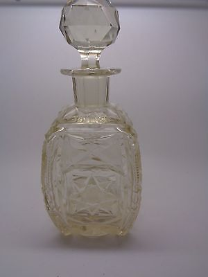 Large Vintage Cut Glass Perfume Bottle Star Cut Body Ground Base Faceted Stopper