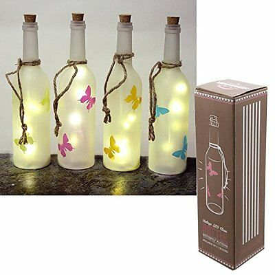 Vintage LED Light Up Glass Bottle with Butterfly Pattern Blue Pink Green Orange
