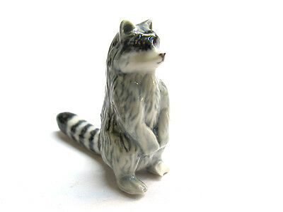 Hand Painted Miniature Collectible Ceramic Raccoon Figurine