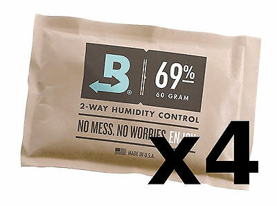 Boveda 69% RH x4 packs,  2-way Humidity Control, 60 gram, individually wrapped (