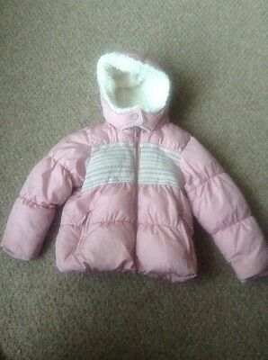 Next Pink Quilted Fleece-Lined Coat Age 4-5. Great Condition.