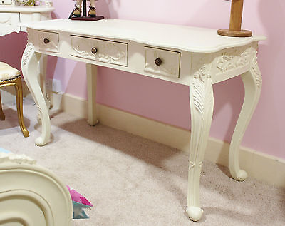Hall Desk Dressing Table French White 3 Drawer Shabby Chic Console Desk