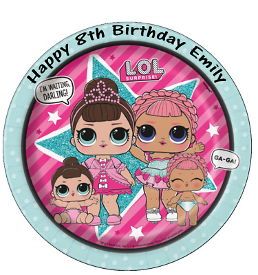 Lol Surprise Dolls Personalised Wafer Paper Topper For Large Cake Various Sizes.