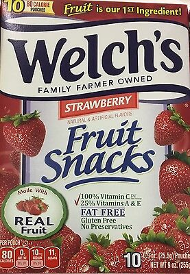 Welch's Fruit Snacks strawberry fruits 10 pouch count