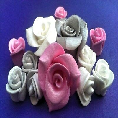 12 edible  sugar paste roses flowers cake cupcake toppers decorations