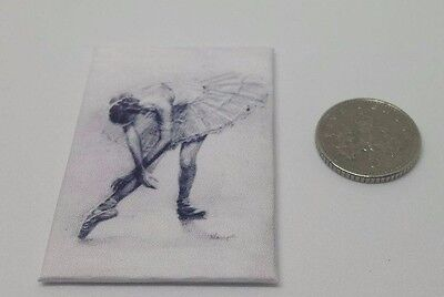 Handmade Miniature Dolls House Accessory Canvas Style Picture Ballerina