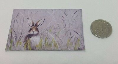 Handmade Miniature Dolls House Accessory Canvas Style Picture Hare