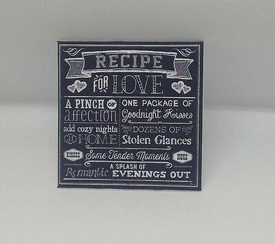 Handmade Miniature Dolls House Accessory Canvas Style Picture Recipe For Love