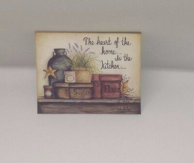 Handmade Miniature Dolls House Accessory Canvas Style Picture Kitchen #2