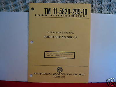 Operation Manual Reprint For  AN/GRC19  T-195 Xmtr/R-392 Receiver Set