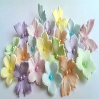 18 Edible sugar flowers butterflies airbrushed pastel colors cake toppers