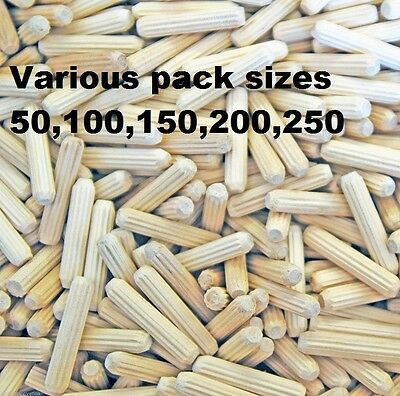 6mm x 30mm  wooden Dowels Pins, Hardwood Fluted Grooved Plugs, Furniture,Joinery